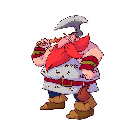 Colorful vector illustration of a cartoon dwarf warrior, with red hair and beard, wearing a chain armor, armed with giant battle axe.