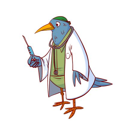 Bird doctor colorful vector illustration
