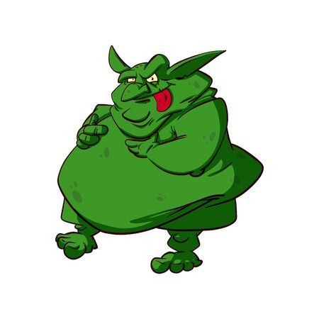 Colorful vector illuistration of a big fat troll or goblin