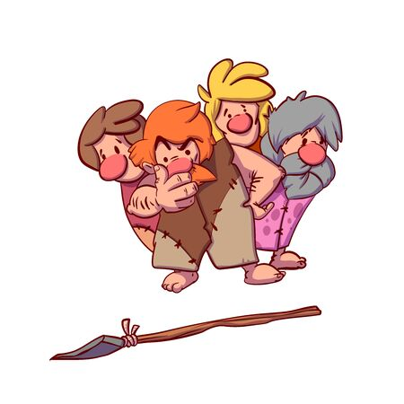 Colorful vector illustration of a group of cavemen wondering about a spear