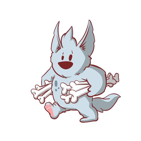 Colorful vector illustration of a tiny baby werewolf, carrying bones