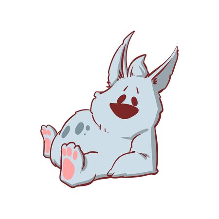 Colorful vector illustration of a tiny baby werewolf, being lazy