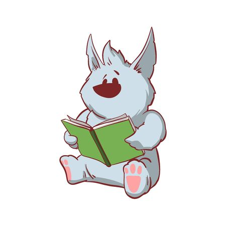 Colorful vector illustration of a tiny baby werewolf, reading a book 矢量图像