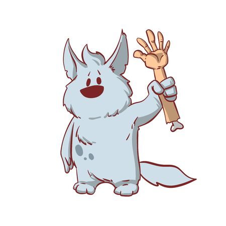 Colorful vector illustration of a tiny baby werewolf, carry a human hand