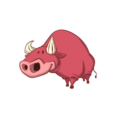 Colorful vector illustration of a cute brown bull with pointy horns