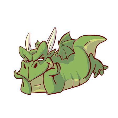 Colorful vector illustration of a cartoon comic green dragon