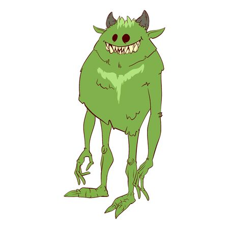 Colorful vector illustration of a cartoon boogeyman, monster or a demon 矢量图像