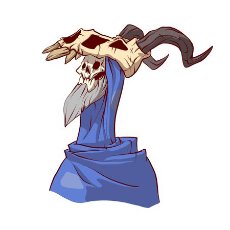 Colorful vector illustration of a cartoon undead lich wizard with grey beard