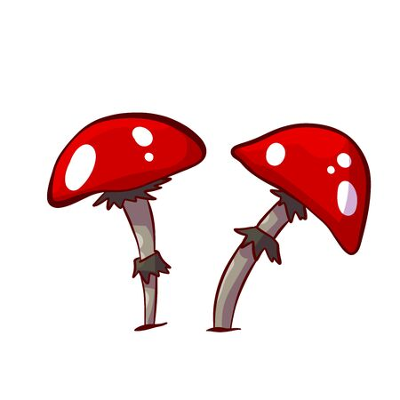 Colorful vector illustration of cartoon red mushrooms with white spots 스톡 콘텐츠 - 147209607