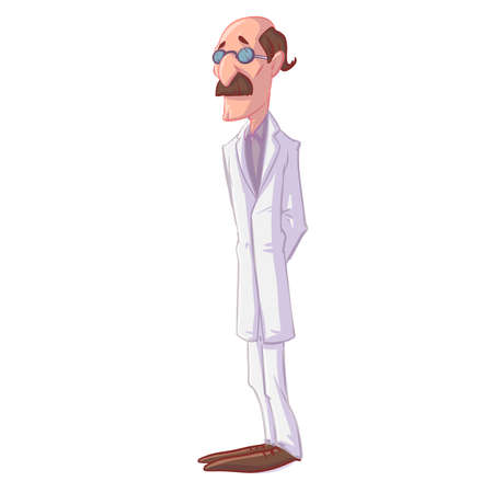 Colorful vector illustration of a cartoon doctor with mustache 일러스트