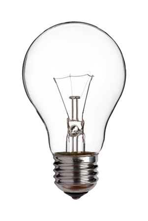 Old tungsten light bulb, cut out on a white background