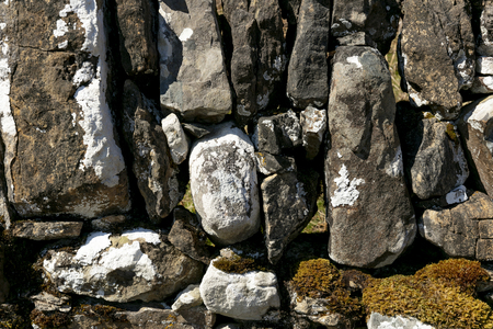 Close up image of a drystone wall texture.