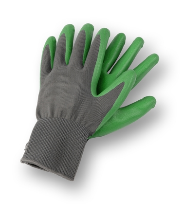 Isolated image of a pair of gardening gloves, with a drop shadow. Фото со стока