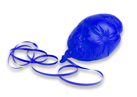An image of a deflated blue ballon and ribbon on a white background with a drop shadow Stock Photo