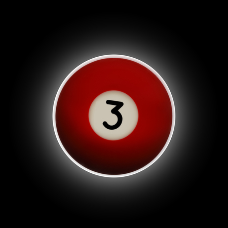 Red number 3 pool ball on a black background with halo effect behind it