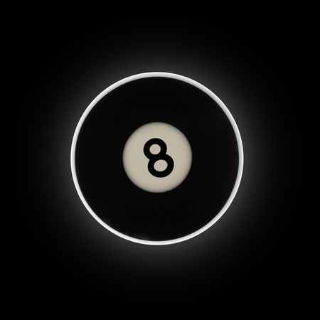 Black number 8 pool ball on a black background, with a halo eclipse effect.