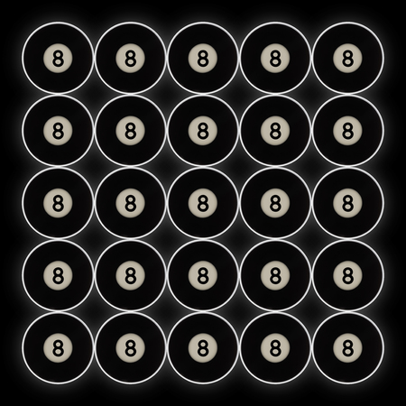 grid of 20 black number 8 pool balls on a black background, with halo effect behind