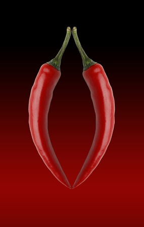 2 chillies and a graduated tint red to black background