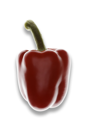 Single red pepper on a white background, with drop shadow