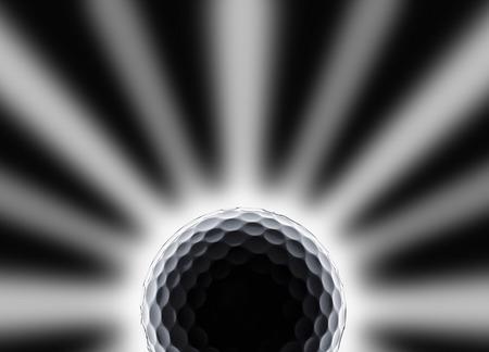 einzelner Golfball mit Stern- und Sonnenfinsterniseffekt auf schwarzem Hintergrund Standard-Bild