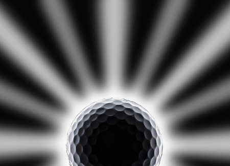 single golf ball with star and eclipse like effect on a black background