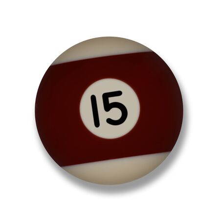 Isolated number 15 maroon pool ball, with drop shadow on a white background