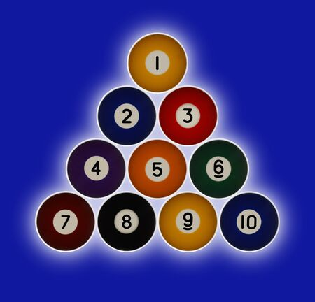 Pool balls numbered 1-10 in a triangle formation on a green background with a hallow glow behind