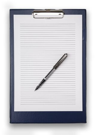 Straight on view of a blue clip board, and lined white paper, with a pen, isolated on white with a drop shadow