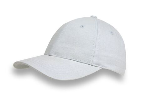 Light blue baseball cap, shot from the side, isolated on a white background with a drop shadow. Stok Fotoğraf