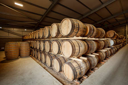 Rows of traditional full whisky barrels, set down to mature, in a large warehouse facility, with acute perspective