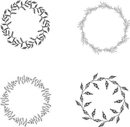 circle flower: Set of monochrome floral frames, floral wreath clip art