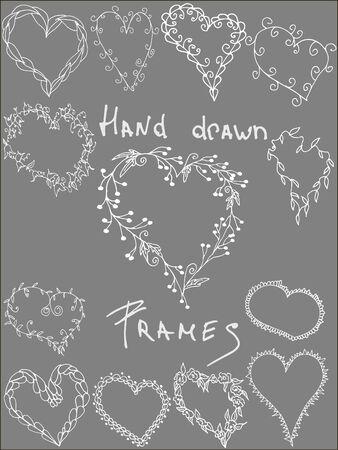 leafy: Set of hand drawn leafy  heart shaped frames,white clip art frames