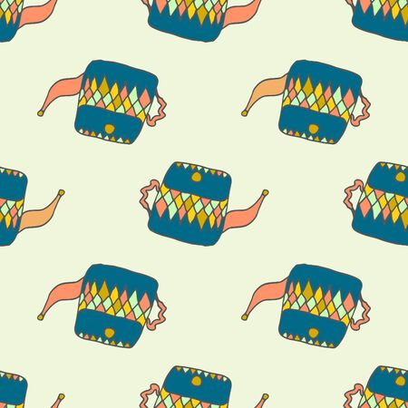 wares: Hand drawn seamless pattern with blue teapots