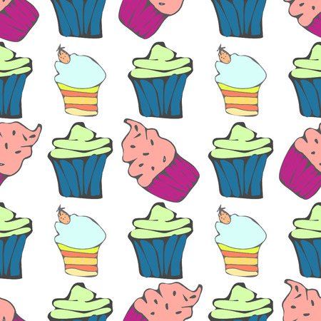 hollidays: Seamless pattern with multicolored muffins