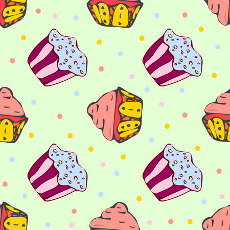 hollidays: Hand drawn seamless pattern with cute cupcakes Illustration