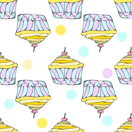 hollidays: Cute yellow cupcakes seamless pattern