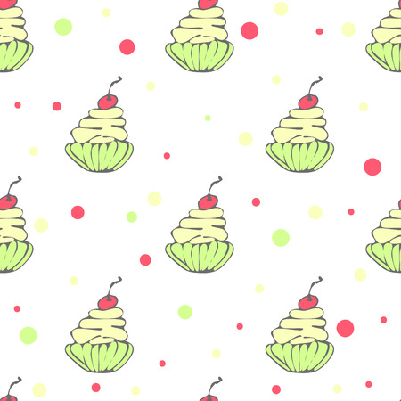 hollidays: Cute seamless pattern with hand drawn cupcakes Illustration