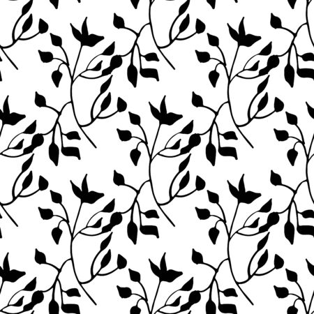 leafy: hand drawn monochrome seamless pattern with leafy elements