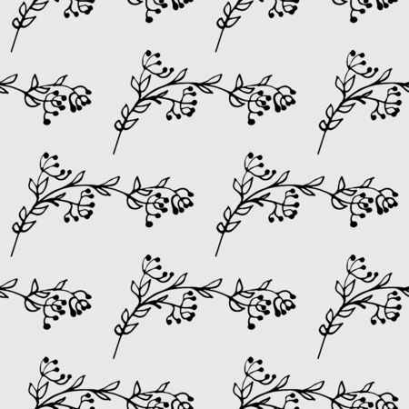 leafy: hand drawn monochrome leafy seamless pattern Illustration