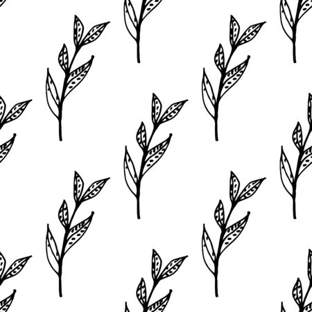 leafy: Black and white seamless pattern with leafy elements