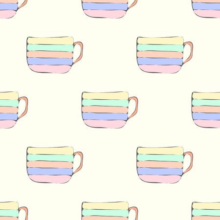 teacups: Simple seamless pattern with multicolored teacups Illustration