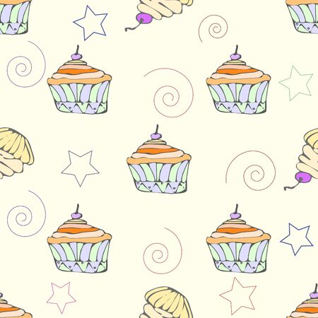 hollidays: hand drawn cupcake seamless pattern