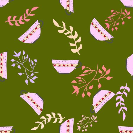 leafy: Seamless pattern with leafy elements and teacups