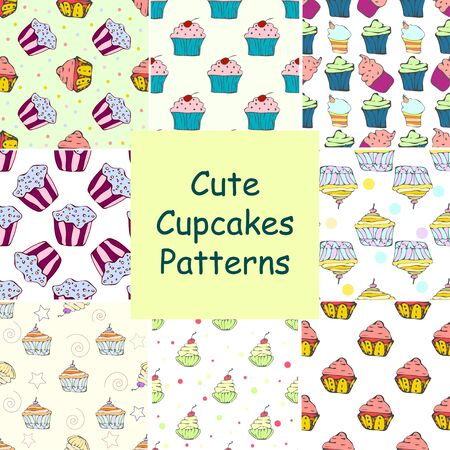 hollidays: Set of hans drawn seamless patterns with cupcakes