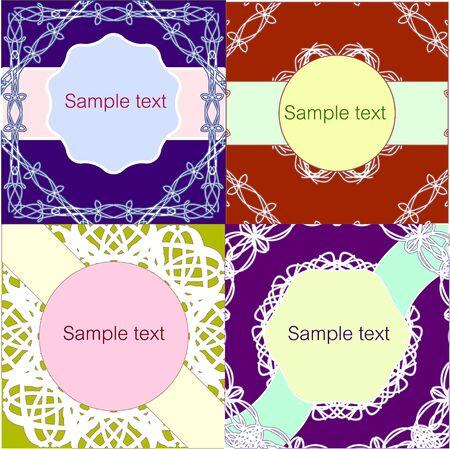 sample: Set of lacy vintage style invitation sample
