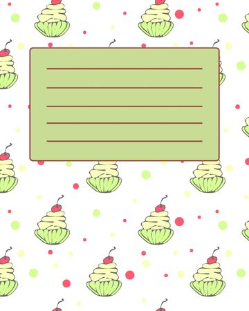 notebook cover: School notebook cover postcard invitation sample with hand drawn cupcakes