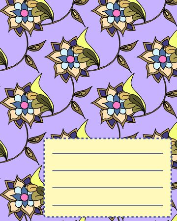 notebook cover: School notebook cover postcard invitation sample with hand drawn flowers