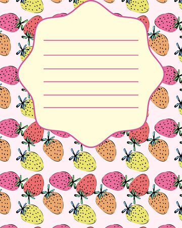 notebook cover: School notebook cover postcard invitation sample with strawberry pattern Illustration