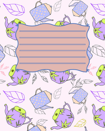 notebook cover: School notebook cover postcard invitation sample with teapots
