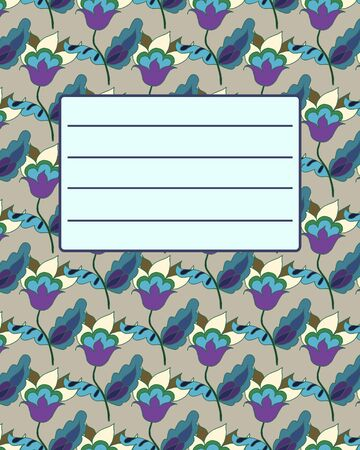 notebook cover: School notebook cover postcard invitation sample with floral ornament